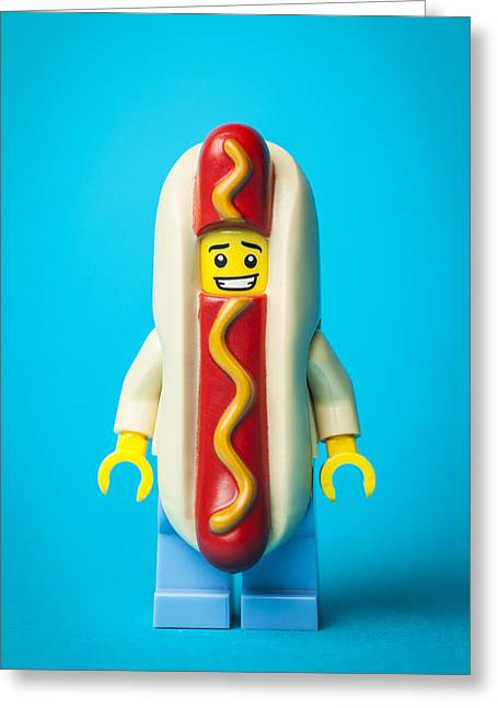 Recently Sold -  - Lego Greeting Cards - Hotdog Dude Greeting Card by Samuel Whitton
