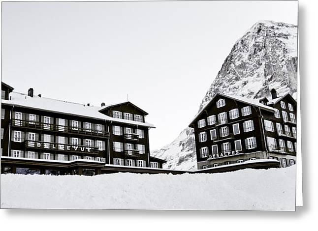 Hotel Bellevue Des Alpes And Eiger Nordwand Greeting Card by Frank Tschakert
