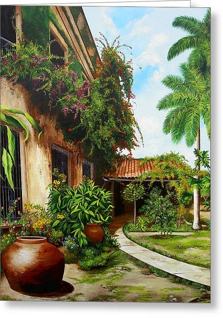 Cuban Artist Greeting Cards - Hotel Camaguey Greeting Card by Dominica Alcantara