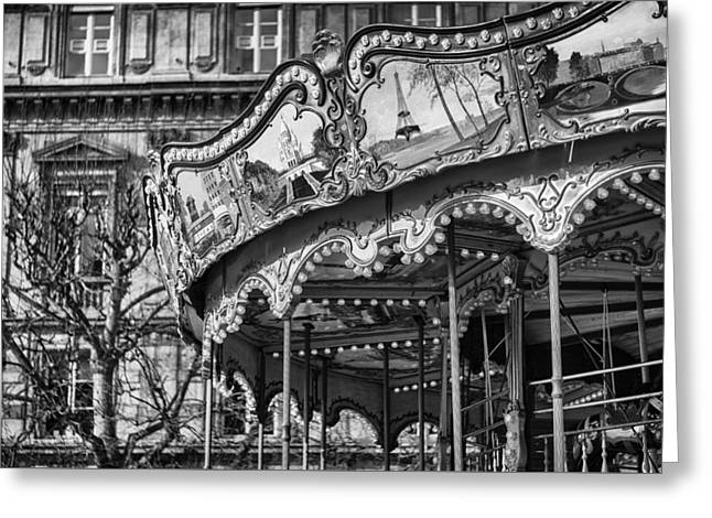Wooden Platform Greeting Cards - Hotel-de-Ville Carousel in Paris. Greeting Card by Pablo Lopez
