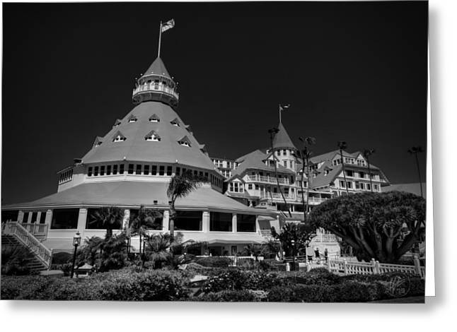 Some Like It Hot Greeting Cards - Hotel del Coronado 001 BW Greeting Card by Lance Vaughn