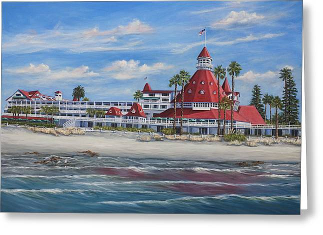 Some Like It Hot Greeting Cards - Hotel Del Coronado Greeting Card by Lisa Reinhardt