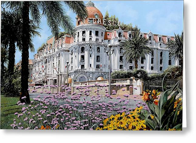 Provence Greeting Cards - Hotel Negresco Greeting Card by Guido Borelli