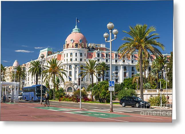 Alpes Greeting Cards - Hotel Negresco on English promenade in Nice Greeting Card by Elena Elisseeva