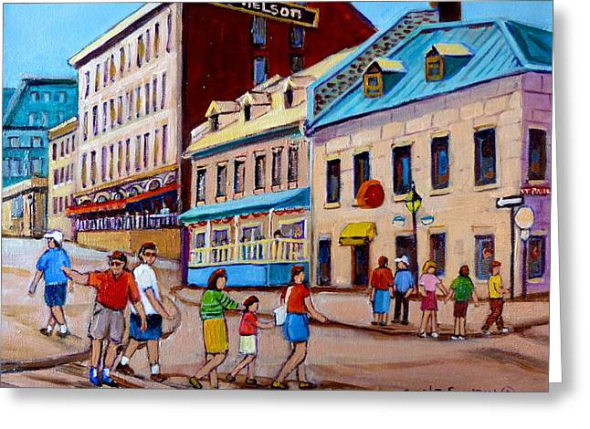Rue Prince Arthur Greeting Cards - Hotel Nelson Old Montreal Greeting Card by Carole Spandau