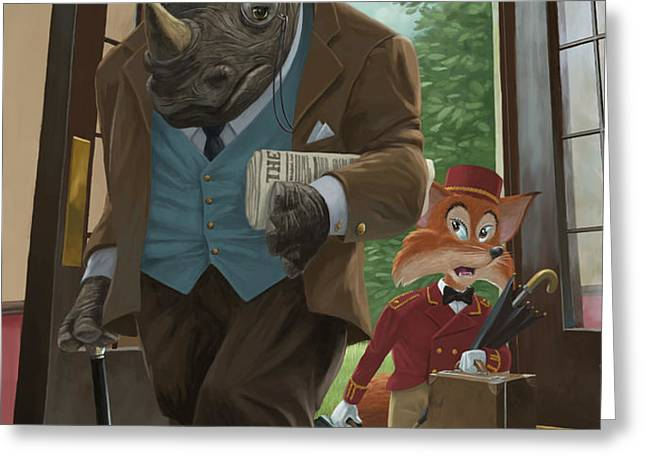 hotel rhino and porter fox Greeting Card by Martin Davey