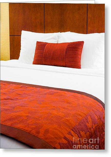 Hotel Room Bed  Greeting Card by Paul Velgos