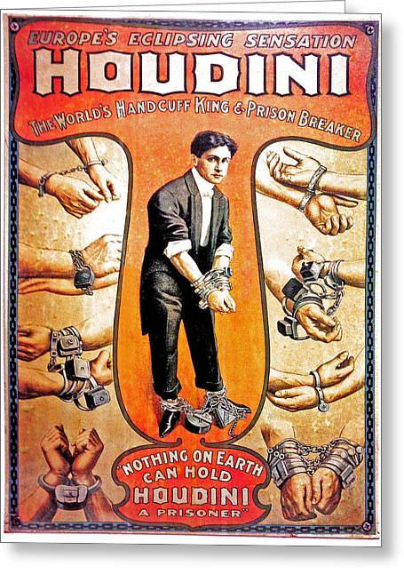 Exhibitionist Greeting Cards - Houdini Greeting Card by Larry Ferreira