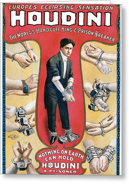 Handcuff Greeting Cards - Houdini The Worlds Handcuff King Greeting Card by Unknown