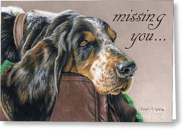 Wishes Drawings Greeting Cards - Hound Dog- Missing You Greeting Card by Sarah Batalka