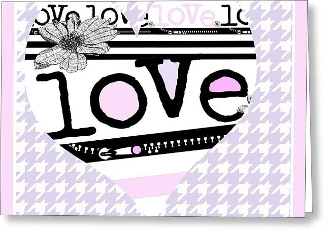 Surtex Licensing Greeting Cards - Houndstooth Pink Heart and Love Typography Greeting Card by ArtyZen Studios - ArtyZen Home