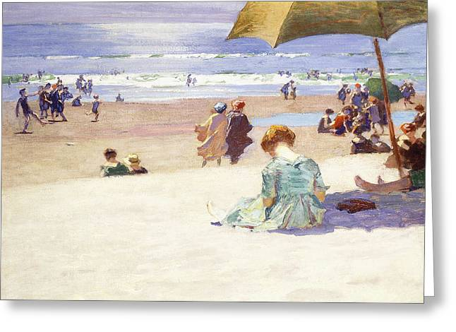 On The Beach Greeting Cards - Hour tide Greeting Card by Edward Henry Potthast