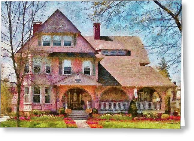 Victorian Home Greeting Cards - House - Pink Majestic Greeting Card by Mike Savad