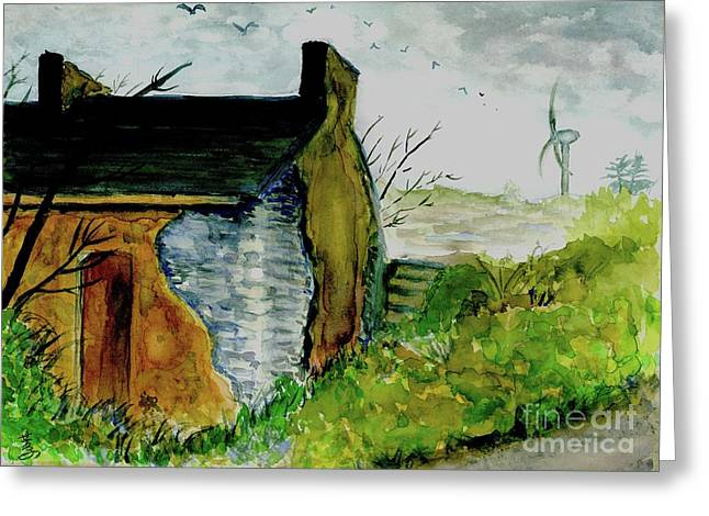 Abandoned Houses Drawings Greeting Cards - House Abandoned 2 Greeting Card by Yoshiko Mishina