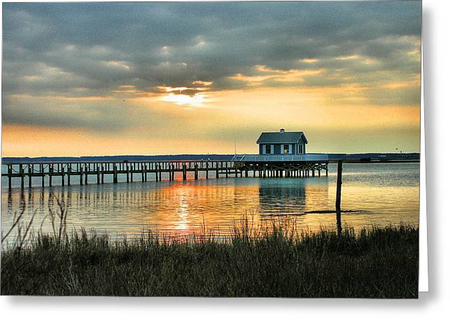 Framed Landscape Print Greeting Cards - House At the End of the Pier Greeting Card by Steven Ainsworth