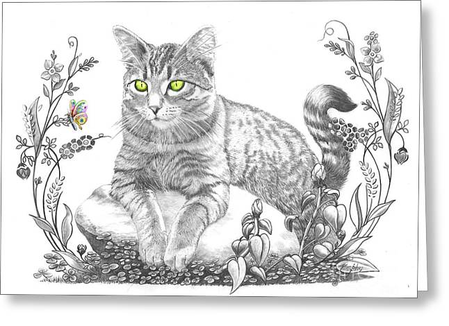 Cat Drawings Greeting Cards - House Cat Greeting Card by Murphy Elliott
