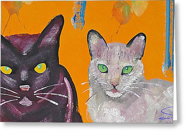 Cat On Back Greeting Cards - House Cats Greeting Card by Charles Stuart