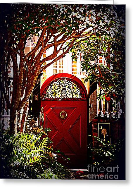 Palmetto Trees Greeting Cards - House Door 5 in Charleston SC  Greeting Card by Susanne Van Hulst