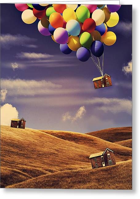 Surreal Digital Art Greeting Cards - House in the air Greeting Card by Mihaela Pater