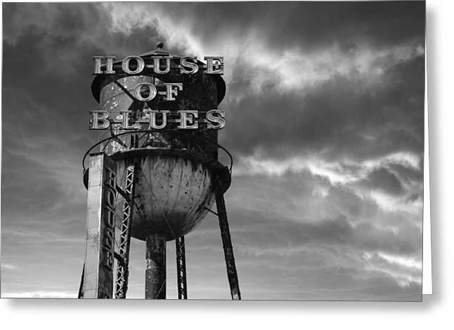House Of Blues B/w Greeting Card by Laura Fasulo