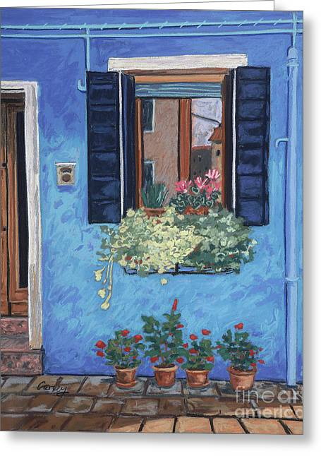 Old Door Pastels Greeting Cards - House of Blues Greeting Card by Cathy Carey