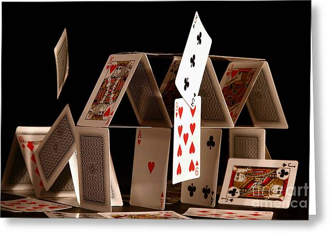 House Of Cards Greeting Card by Jan Piller