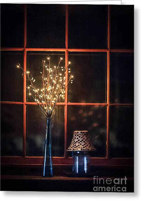 Window Frame Greeting Cards - House Of Mystic Lights Greeting Card by Evelina Kremsdorf