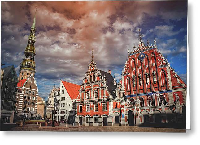 House Of The Blackheads In Riga Latvia  Greeting Card by Carol Japp