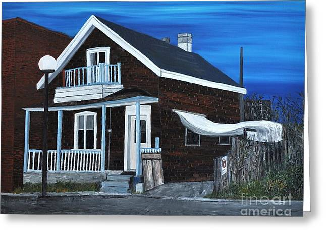 Montreal Streets Paintings Greeting Cards - House on Hadley Street Greeting Card by Reb Frost