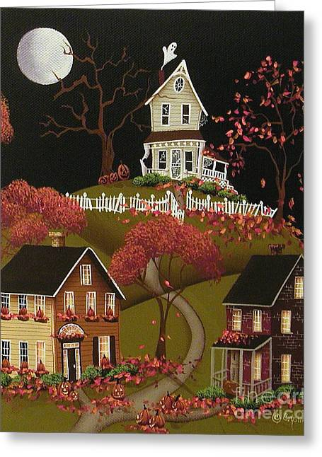 Halloween Folk Art Greeting Cards - House on Haunted Hill Greeting Card by Catherine Holman