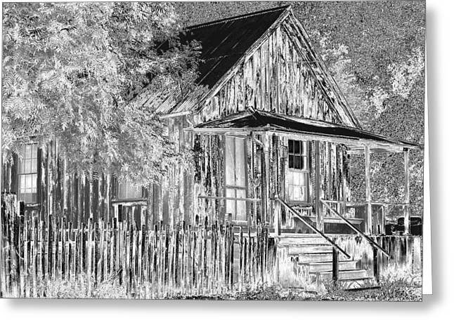 Etching Digital Greeting Cards - House On The Hill Greeting Card by Athala Carole Bruckner