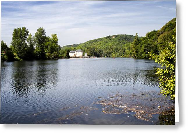 """south West France"" Greeting Cards - House on the River Bend - South West France Greeting Card by Georgia Fowler"