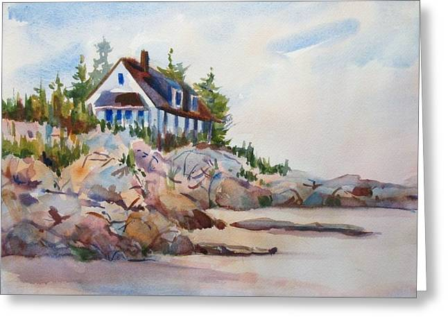 Seacape Greeting Cards - House on the rocks Greeting Card by Linda Emerson