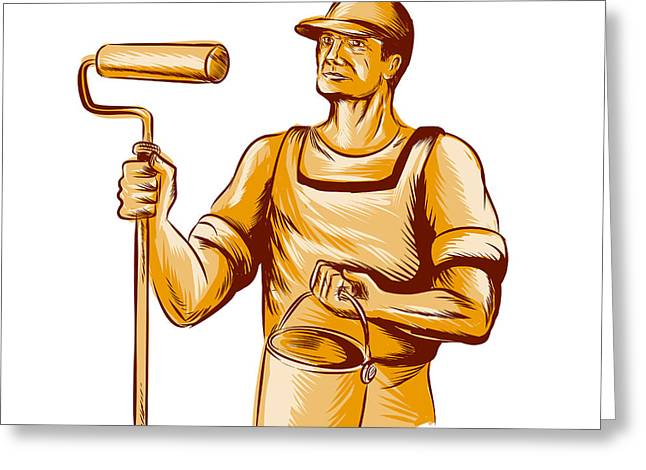 House Painter Holding Paint Roller Etching Greeting Card by Aloysius Patrimonio