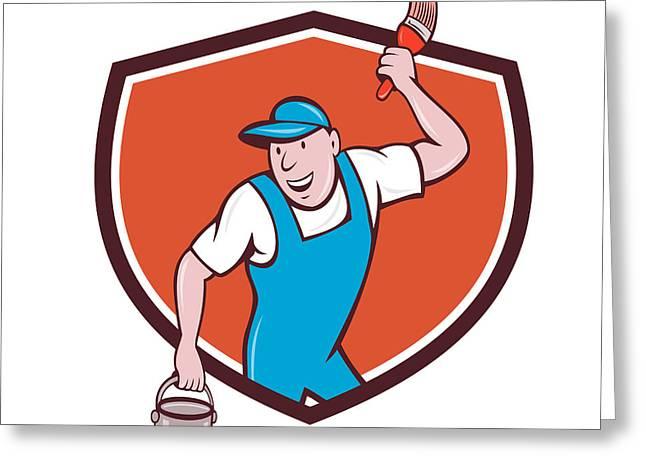 House Painter Paintbrush Paint Bucket Crest Cartoon Greeting Card by Aloysius Patrimonio