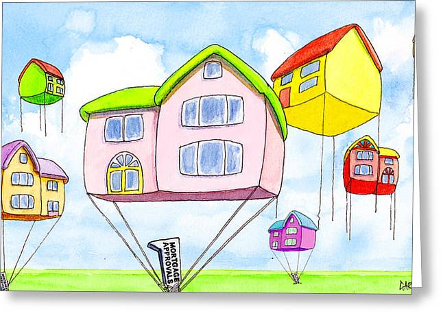 Inflation Paintings Greeting Cards - House Price Inflation Greeting Card by Gary Barker