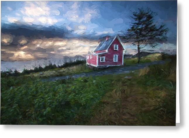 Tor Paintings Greeting Cards - House Red I Greeting Card by Darrell Young