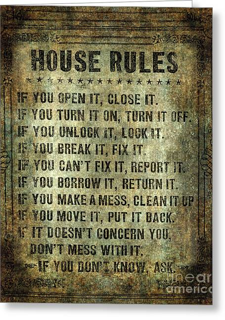 Vintage Accents Greeting Cards - House rules on aged vintage retro looking parchment Greeting Card by Bruce Stanfield