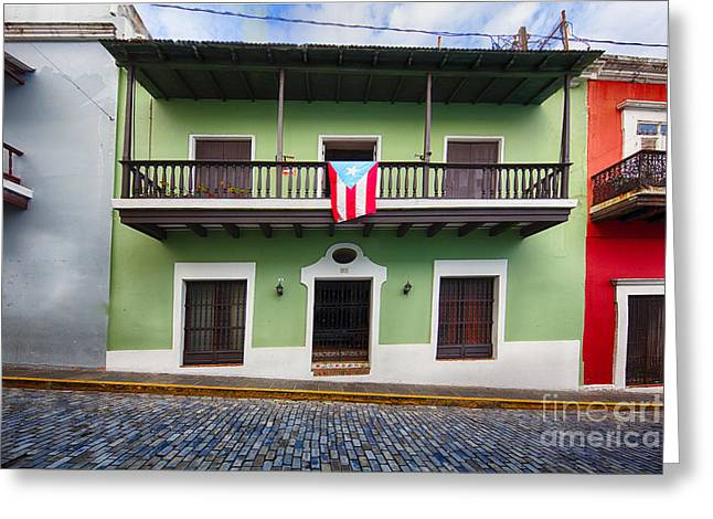 Incline Greeting Cards - House with a Balcony and a Flag in Old San Juan Greeting Card by George Oze