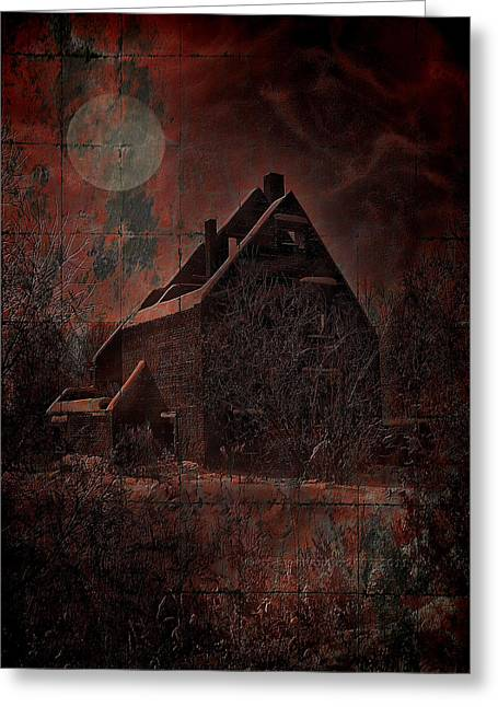 Haunted House Digital Greeting Cards - House With A Story To Tell Greeting Card by Mimulux patricia no