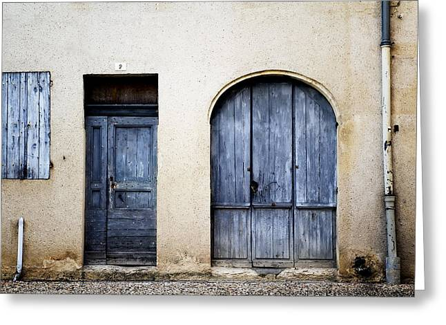 French Doors Greeting Cards - House with Blue Doors Greeting Card by Georgia Fowler