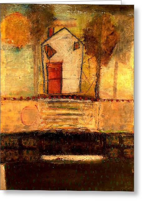 House With Red Door Greeting Card by Lynn Bregman-Blass