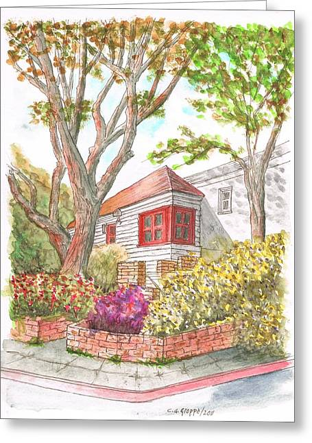 California Art Greeting Cards - House with two trees in Holloway Ave. - West Hollywood - California Greeting Card by Carlos G Groppa
