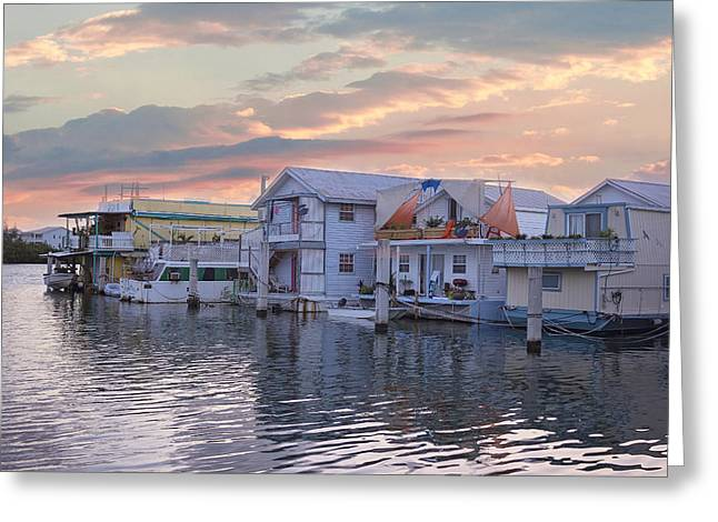 Historic Home Greeting Cards - Houseboat Row - Key West Greeting Card by Kim Hojnacki