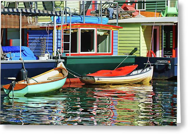 Water Vessels Greeting Cards - Houseboats #4 - Lake Union - Seattle Greeting Card by Nikolyn McDonald