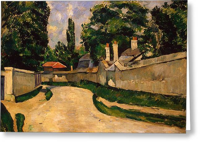 Town Walls Greeting Cards - Houses Along a Road Greeting Card by Paul Cezanne