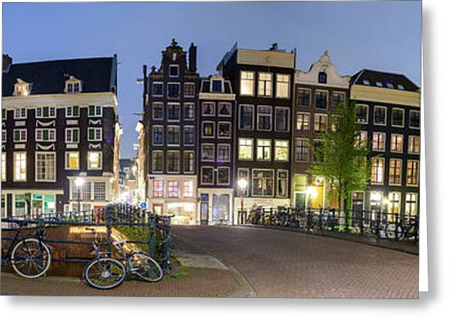 Evening Scenes Greeting Cards - Houses Along The Singel Greeting Card by Panoramic Images
