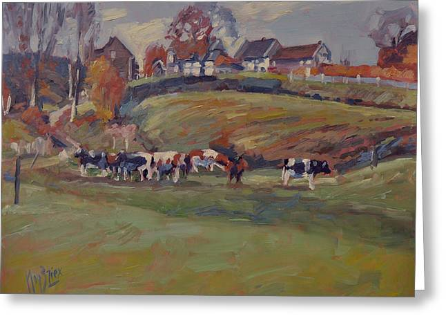 Houses And Cows In Schweiberg Greeting Card by Nop Briex