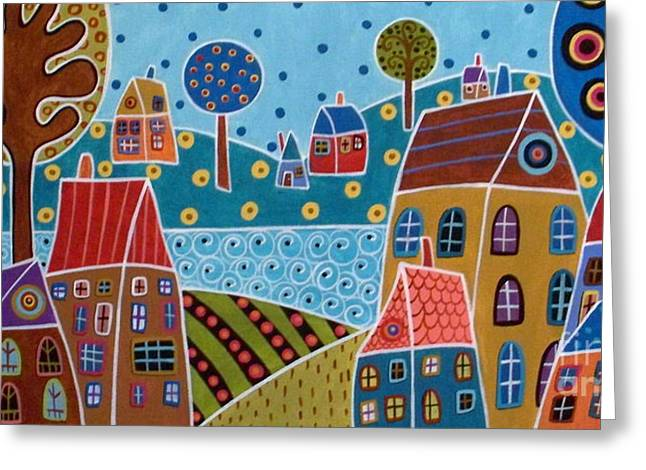 Primitive Greeting Cards - Houses And Trees By The Water Greeting Card by Karla Gerard
