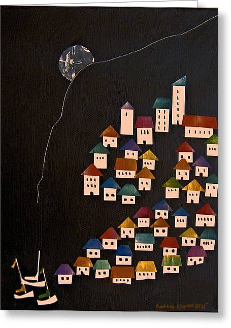 Sailing Boat Mixed Media Greeting Cards - Houses By the Sea Greeting Card by Barbara Kinnick